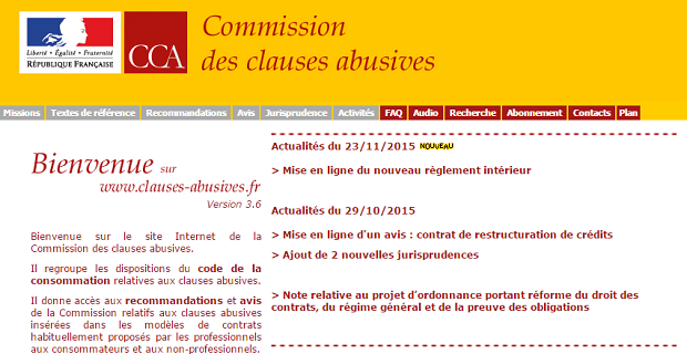 Capture d'écran du site Clauses-Abusives