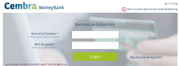 Capture d'écran du site de la Cambra Money Bank