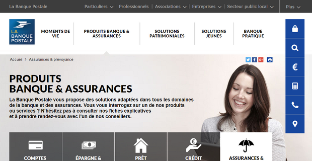 Capture du site LBP Assurances