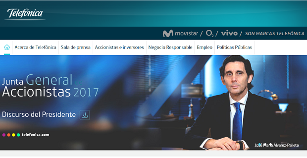Capture du site Telefonica