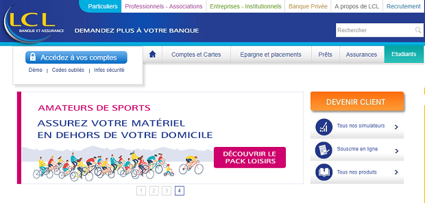 Capture ecran du site LCL