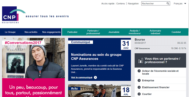 Capture du site CNP assurances