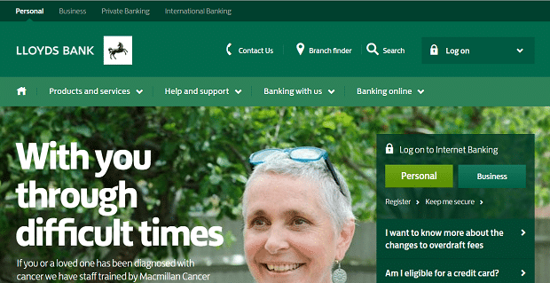capture du site Lloyds Banking