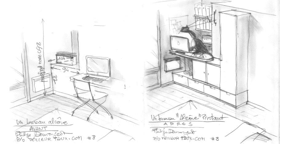 une alc ve au dessus de la cage d escalier. Black Bedroom Furniture Sets. Home Design Ideas